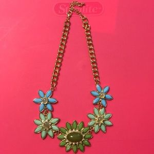Gold and floral chunky necklace